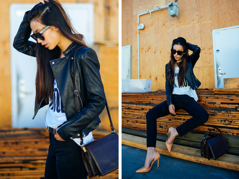 Neon Blush, Jenny Ong, Lovers + Friends, Zara, leather jacket, Madewell, Madewell jeans, Celine sunglasses