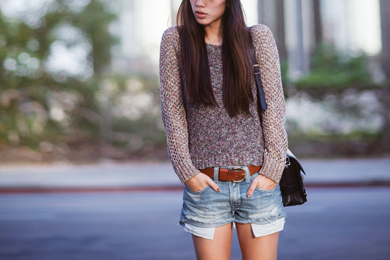 Neon Blush, Jenny Ong, Rag & Bone sweater, boyfriend denim shorts, Newbury boots