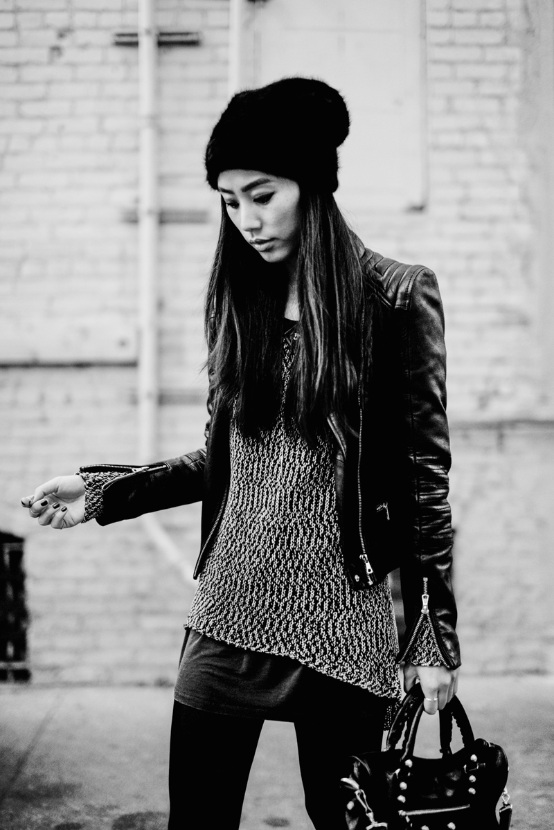 Neon Blush, Jenny Ong fashion blog, black and white outfits, angora beanie, ASOS beanie, leather jacket Zara, Rag & Bone loafers, Lytton loafer, haircalf boots, bebe