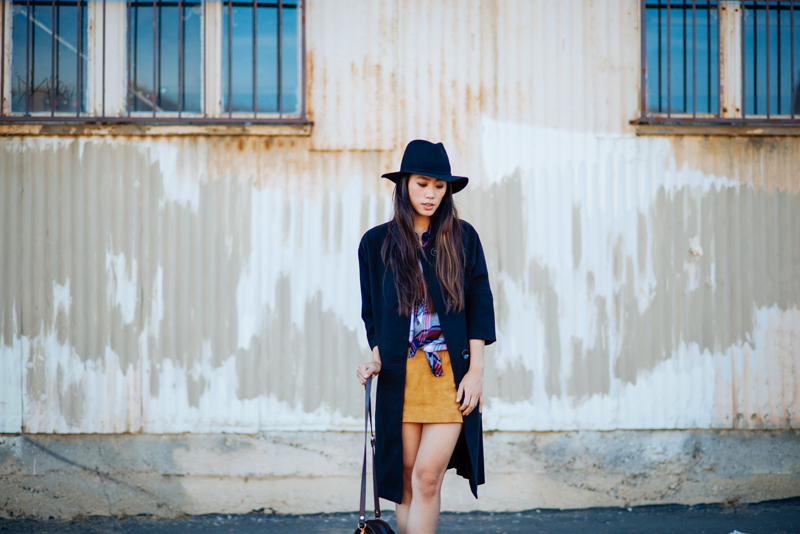 Neon Blush, Spiegel 1865, Spiegel black coat, oversized coat, three quarters sleeve coat, Nasty Gal hat, Rails plaid shirt, Forever 21 suede skirt, Zara pumps