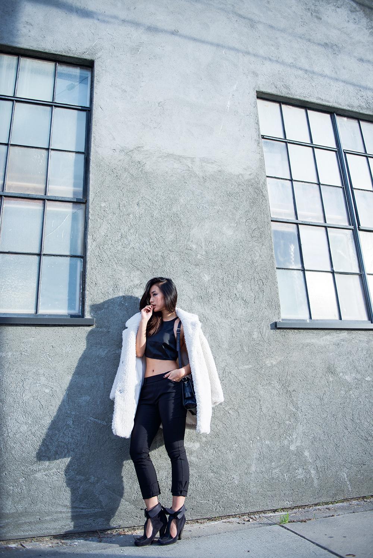 Neon Blush, LA winters, Los Angeles style blogger, Misha Collection satin top, Isabel Marant heels, Zara trousers, Gerard Darel coat, Proenza Schouler PS11 black bag