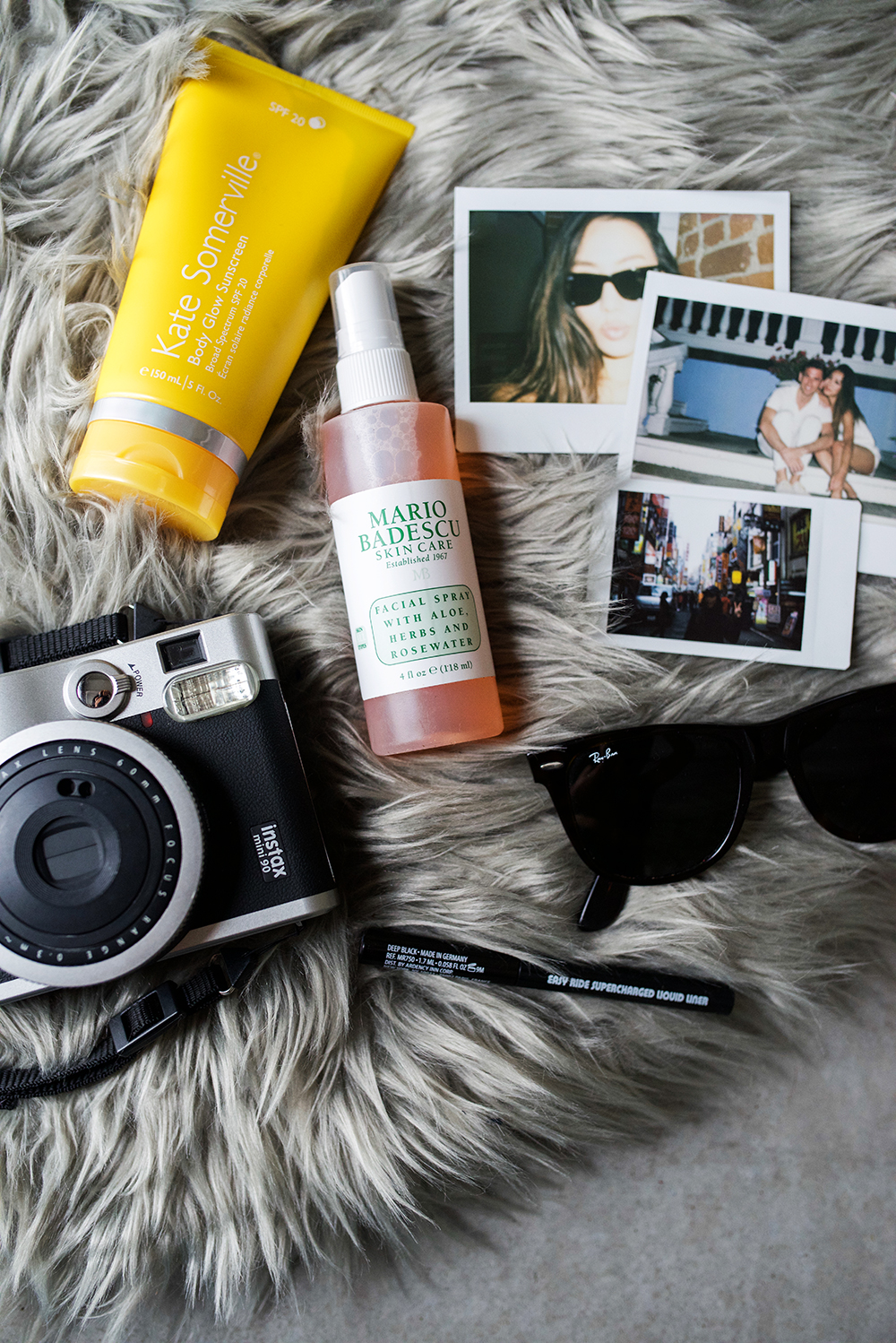 Neon Blush, Outside Lands Music Festival, San Francisco music festival, PayPal, makeup, Ray-Ban wayfarer sunglasses, Kate Somerville sunscreen SPF lotion, Mario Badescu rosewater spray face mist, Fujifilm Instax Mini 90 camera, polaroid camera, liquid eyeliner Urban Outfitters