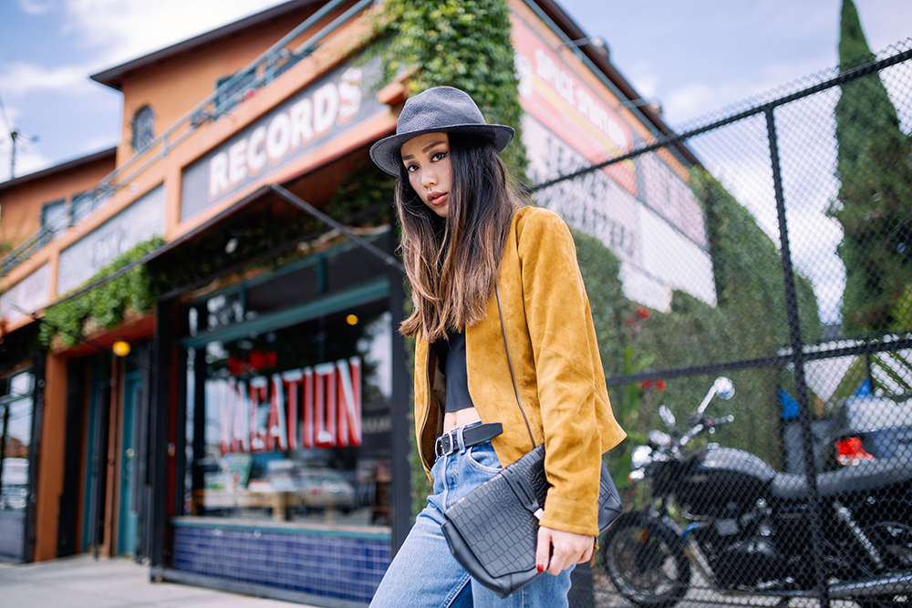 Neon Blush, Nordstrom Rack, Coach leather suede jacket, camel suede jacket, The Kooples straw hat, Levis 501 jeans, vintage Levis, Dr. Marten leather sneakers, Rag & Bone leather clutch