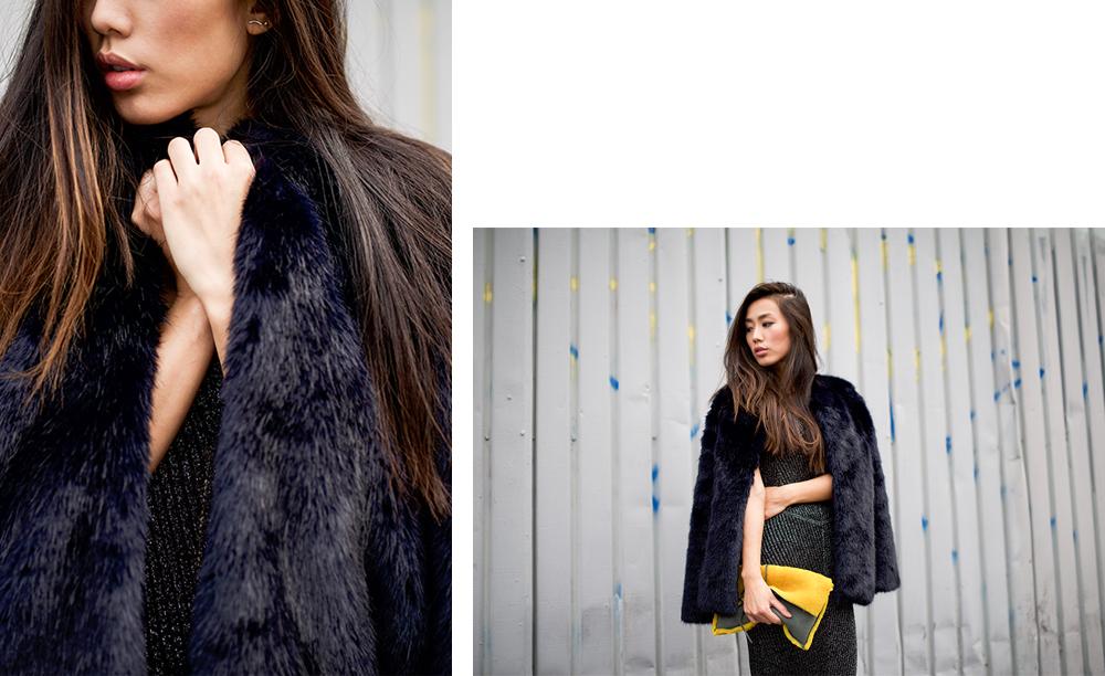 Neon Blush, Topshop party dresses, Amanda Uprichard faux fur jacket, Topshop lace up heels