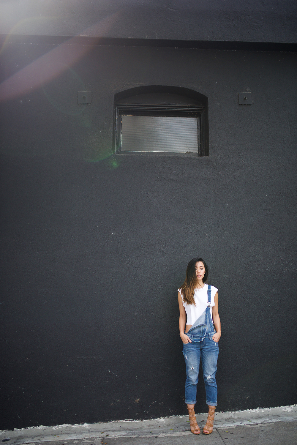 Neon Blush, Paige Denim overalls, DIY cropped top, Sigerson Morrison sandals, Silverlake CA