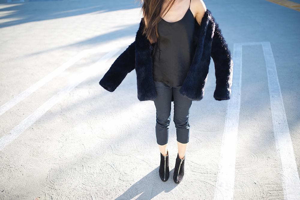 Neon Blush, LoQus leather boots, Amanda Uprichard jacket, navy blue jacket, Theyskens' Theory high waisted trousers, denim trousers, Céline Audrey sunglasses, oversized black sunglasses