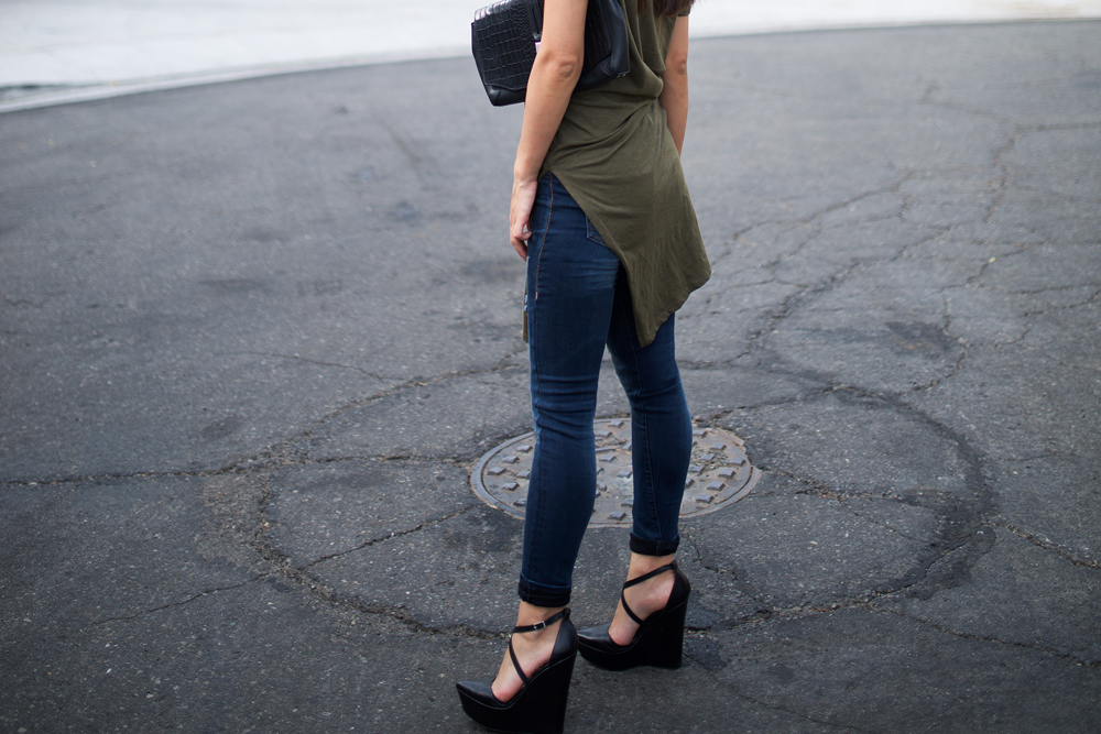 Neon Blush, olive green, army green, dark muted green, denim leggings, destructed denim, True Religion, Zara, Theyskens' Theory criss cross heels, suede cap