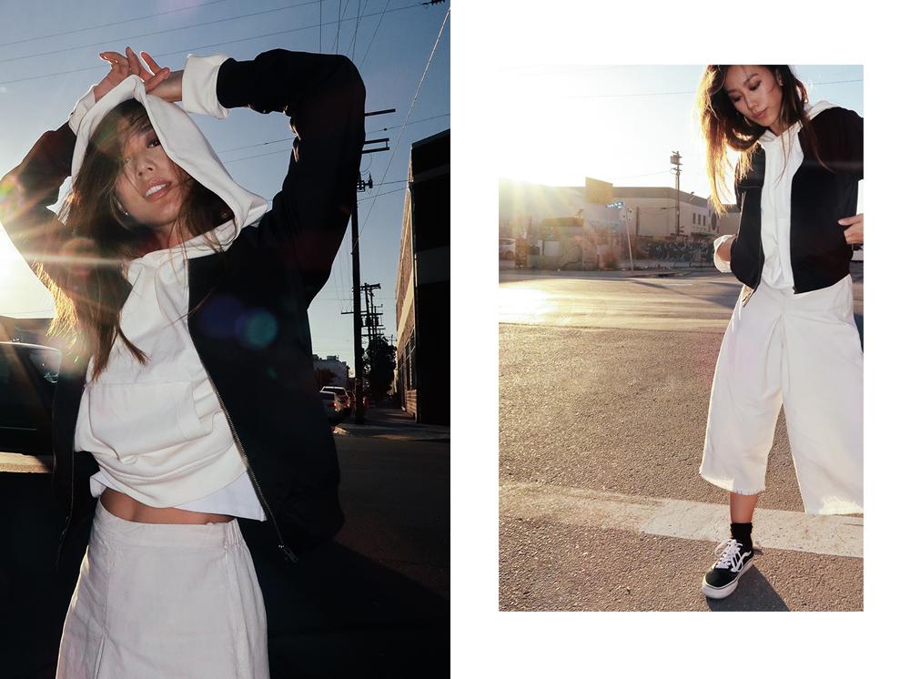 Neon Blush, Uniqlo, golden hour, Vans Sk8 sneakers, hoodies, H&M, did e leg pants