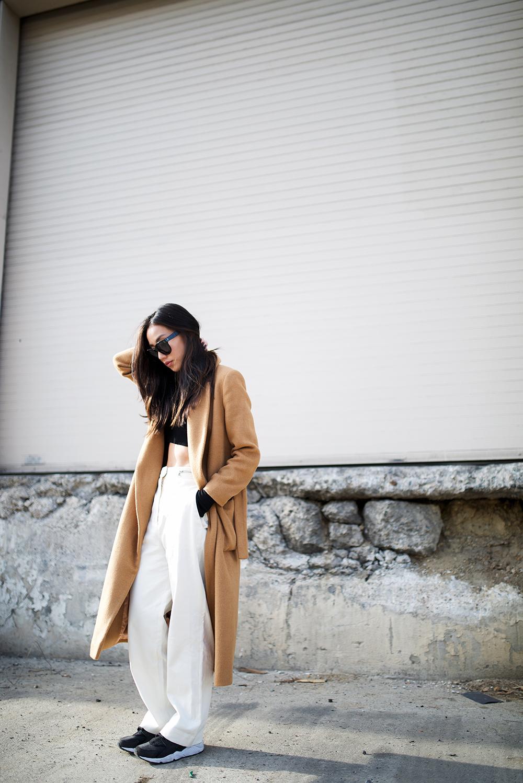 Neon Blush, Topshop coat, Proenza Schouler trousers, Nike Huaraches, easy style, crop Zara top, Céline Audrey sunglasses