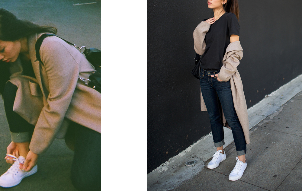 Neon Blush, Rag & Bone Standard Issue sneakers, Rag & Bone jeans, Rag & Bone t-shirt, Zara long taupe coat, Balenciaga leather classic city bag