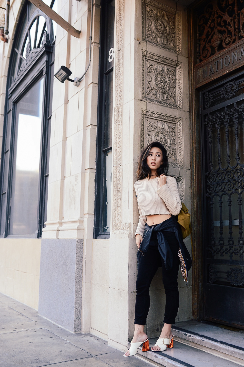 Neon Blush, cropped sweater, Balenciaga suede classic bag, Acne Studios Olej heels, OTTE NYC, DTLA