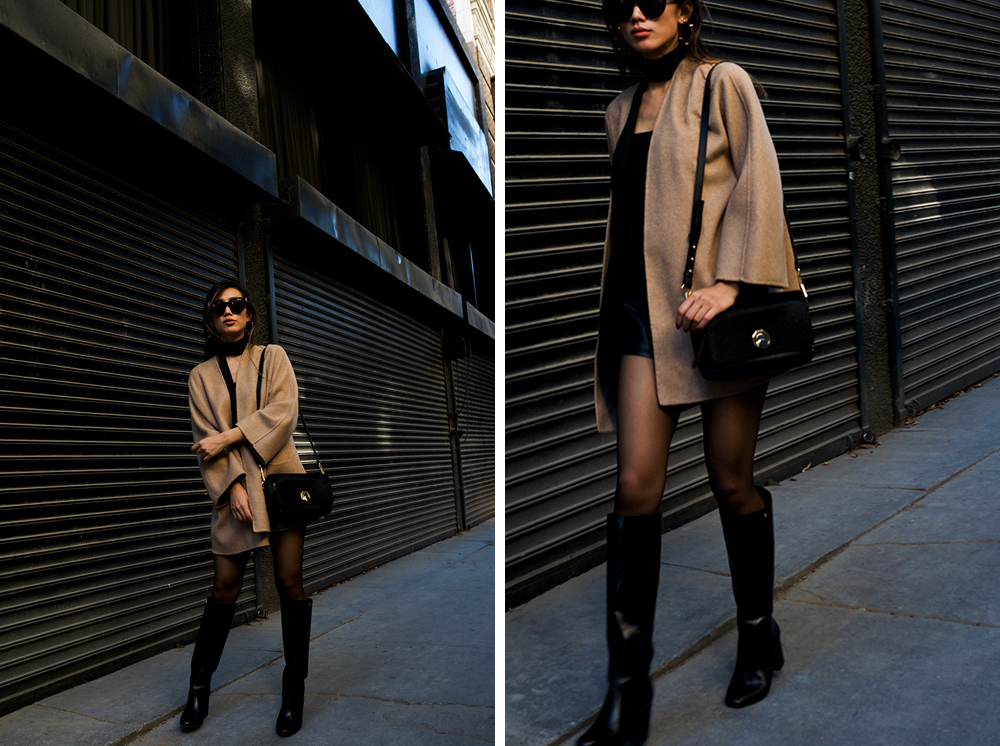 Neon Blush, Louise et Cie, Balasia block heel knee high boots, Alis small leather bag, Celine sunglasses, Zara coat
