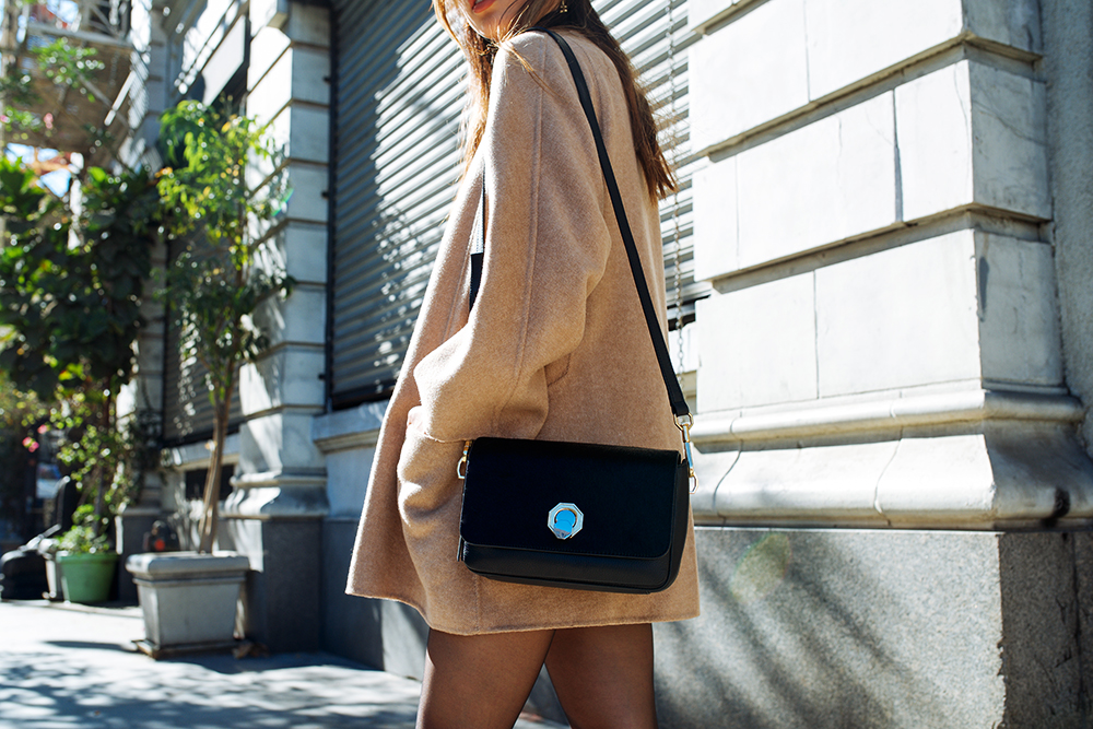 Neon Blush, Louise et Cie, Balasia block heel knee high boots, Alis small leather bag, Celine sunglasses, Zara coat