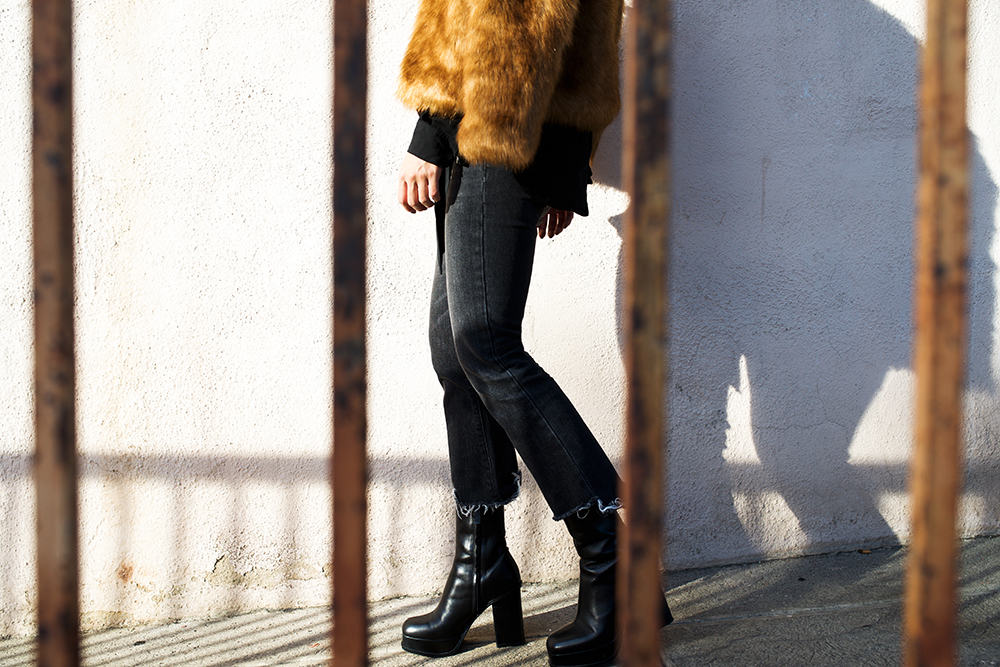 Neon Blush, Abercrombie & Fitch, faux fur, cropped flares
