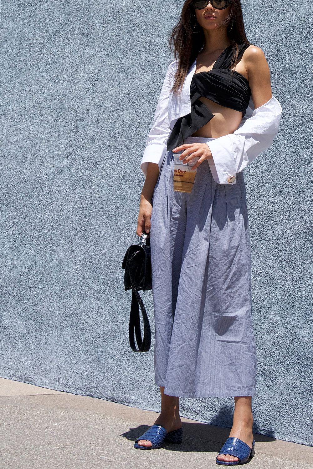 Neon Blush, AQ/AQ bandeau top, MISA Los Angeles wide leg trousers, RAEN sunglasses, Elizabeth and James leather croc mini handbag, Maryam Nassir Zadeh croc leather sandals, Adornmonde star hoop earrings, J.O.A. white button up