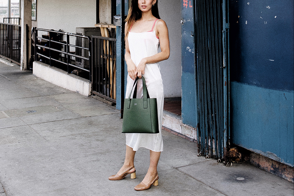 Neon Blush, The Dreslyn, Los Angeles, simple style, Rachel Comey patent slingback shoes, Land of Women white slip dress, Rachel Comey pink swimsuit
