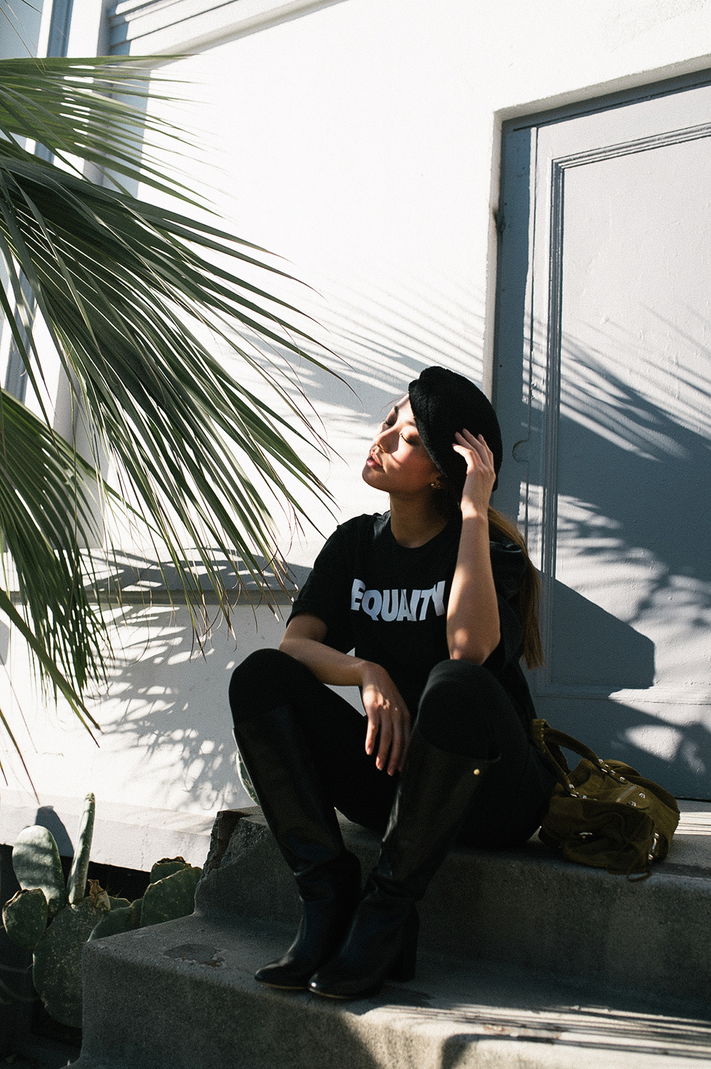Neon Blush, NIKE Equality tee, political t-shirts, Rag and Bone shearling beret, palm trees, Los Angeles
