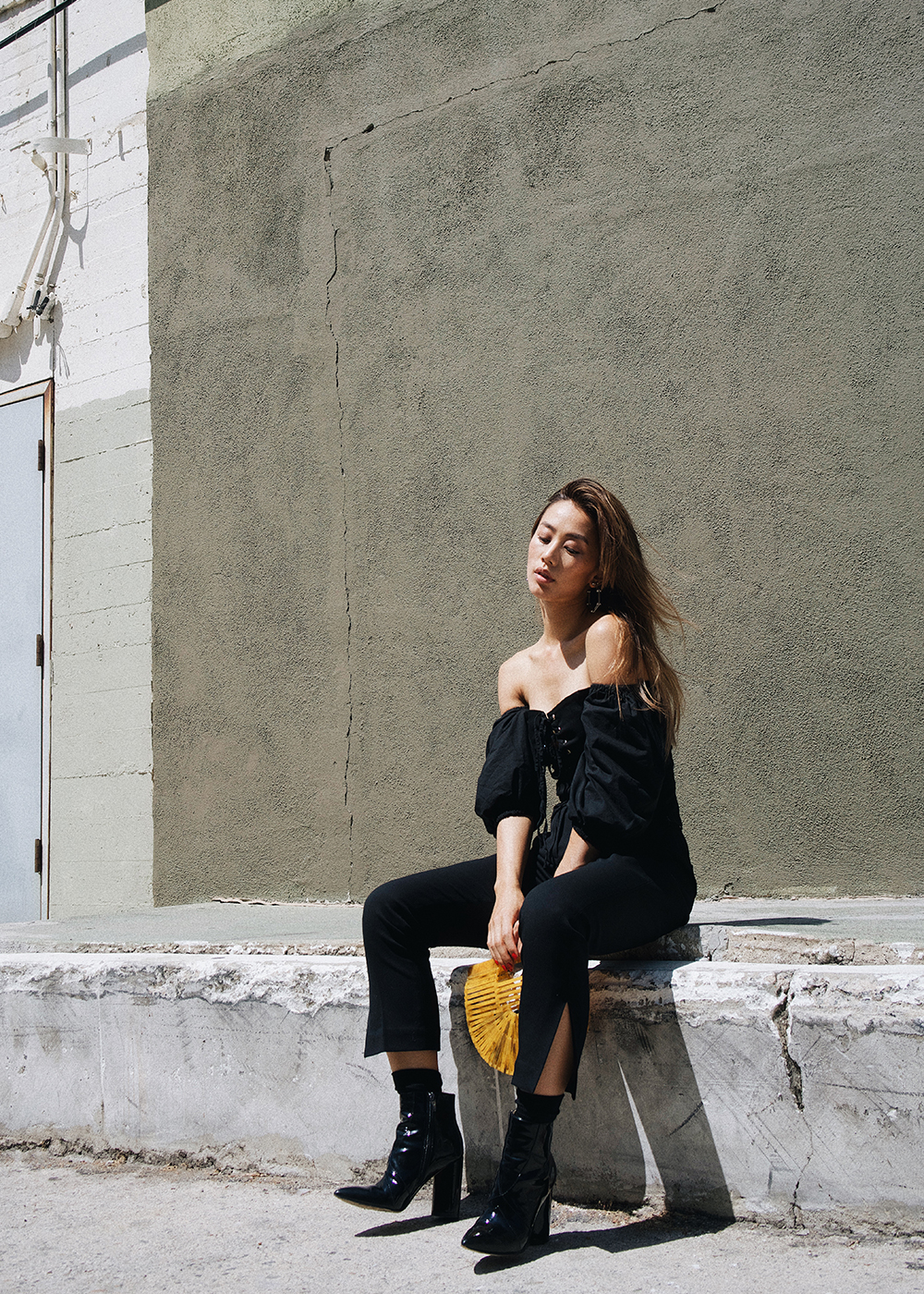 Neon Blush, Jenny Ong, Los Angeles, Cult Gaia golden yellow small bag, Storets off shoulder top, The Frilly slit trousers, Sigerson Morrison Knox patent boots