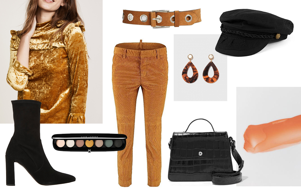 Neon Blush, Los Angeles, Jenny Ong, mustard yellow color of the season, fall autumn styling, inspiration board, Amazon Fashion, Elizabeth & James croc bag, suede grommet belt, crushed velvet top, suede black boots, corduroy pants, Marc Jacobs Beauty eyeshadow palette, The Dreslyn, Glossier cloud paint