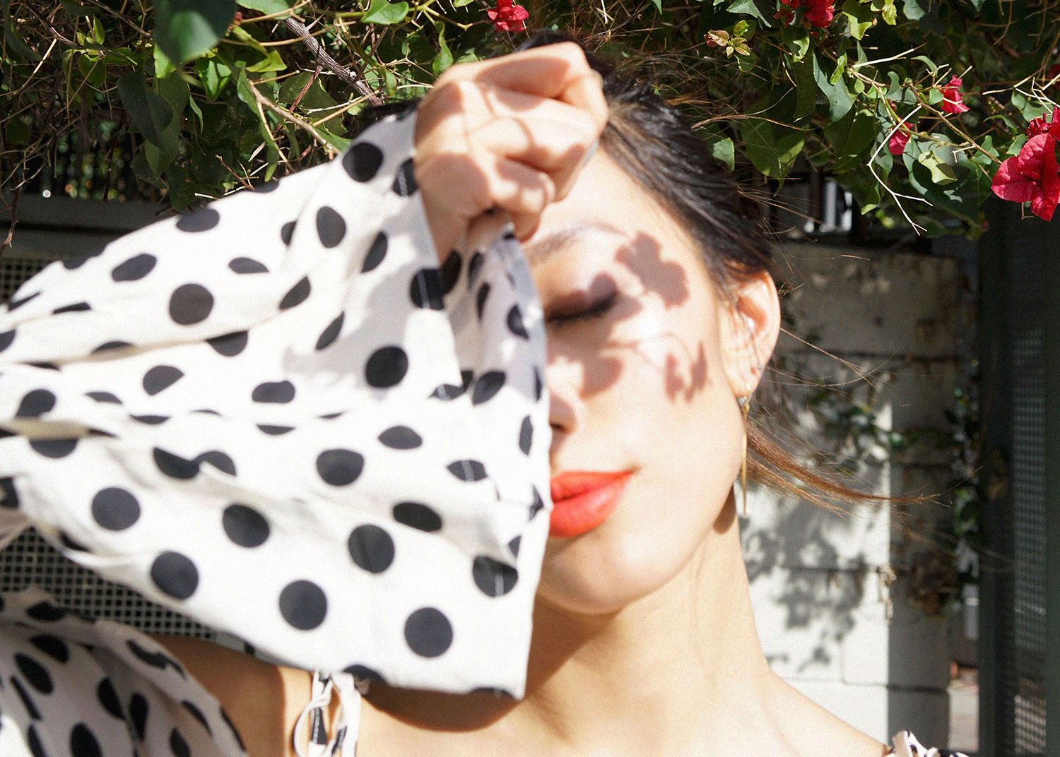 Neon Blush, polka dot scrappy top, cropped top, crop top, polkadot, black and white, bougainvillea, Los Angeles, EGGIE Jenn Im festival collection, EGGIE SHOP, eggie US, fashion, personal style, photography
