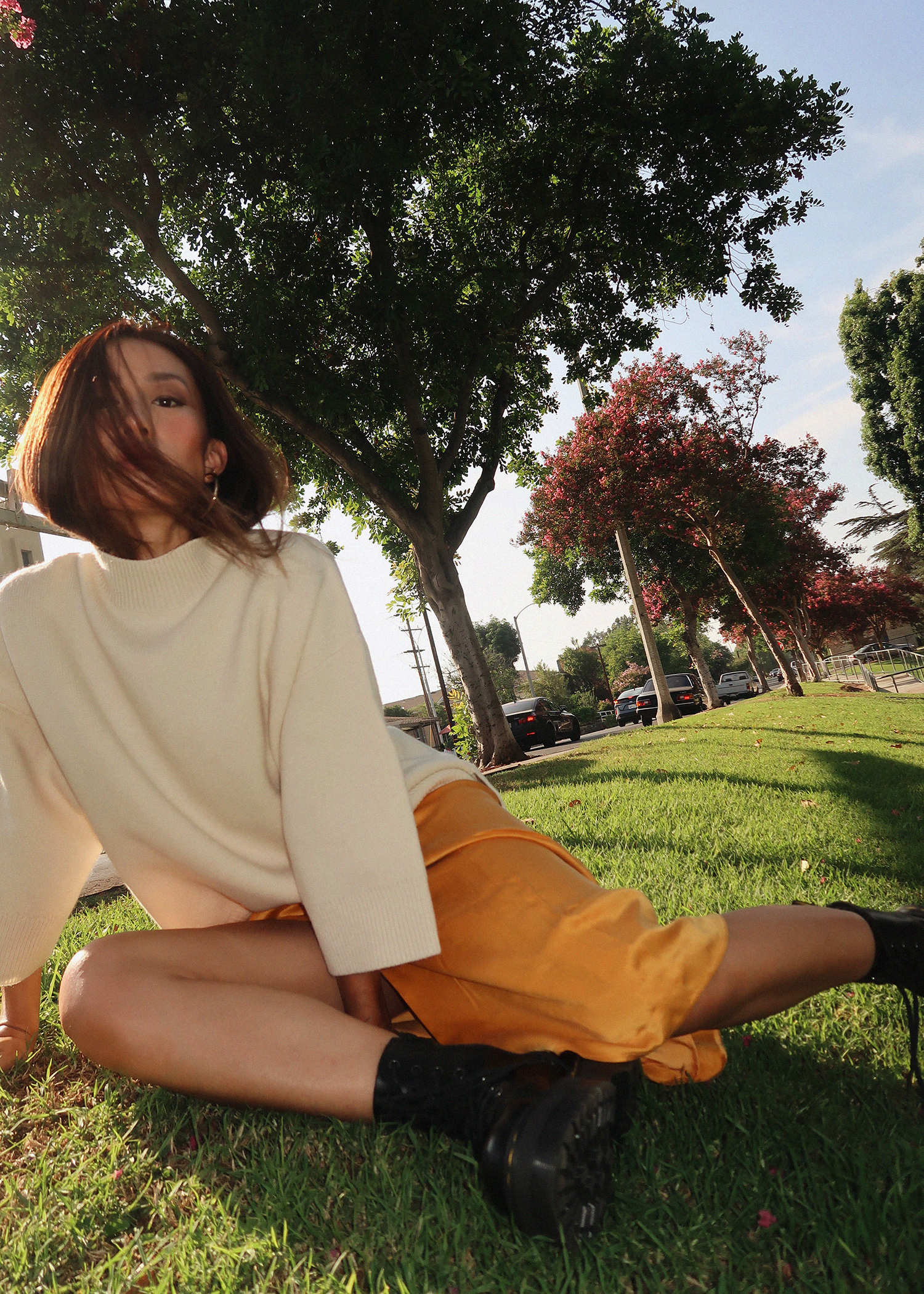 Neon Blush, Baldwin clothing, Baldwin USA, golden yellow silk slit skirt, mock neck turtleneck sweater, knit sweater, off white sweater, off white knits, fall apparel, fall fashion, fall style, Los Angeles, Staud croc bag, Dr Martens platform Jadon boot, Doc Martens